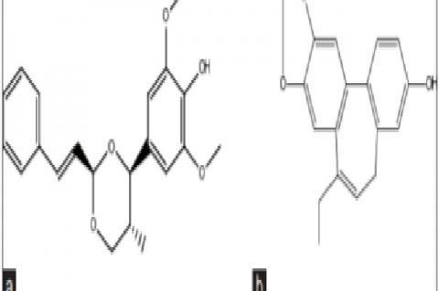 Structure of cinnamic aldehyde cyclic syringyl glycerol 1, 3-acetal