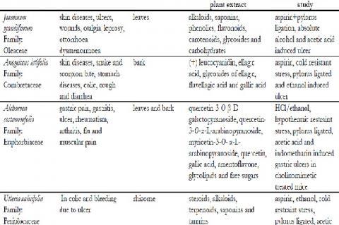 Some Medicinal plants having antiulcerogenic activity
