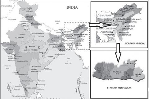 Map of India representing the state of Meghalaya with seven districts