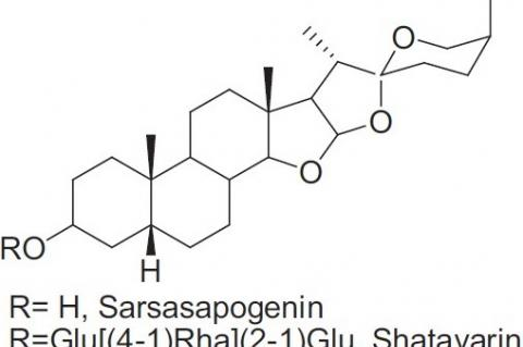 Structures of sarsasapogenin and its glycosides